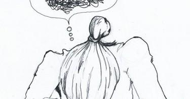 Disegno di donna in preda all'ansia, angoscia, paura