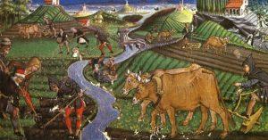 Affresco, agricoltura medievale, connessione con l'anima del mondo
