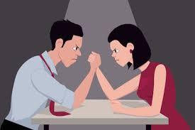 Coppia uomo e donna, sfida, rabbia e sofferenza