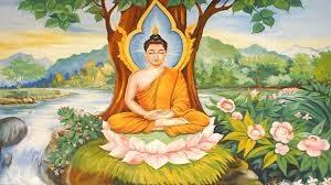 Il Buddha Siddhartha Gautama seduto sotto l'albero celeste